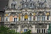 Decrepit Art Nouveau facade, Budapest, Hungary, Europe