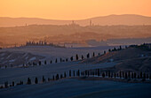Crete at sunrise, view of Siena, Tuscany, Italy, Europe