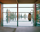 Couple near indoor pool looking out of a panorama window, Vigiljoch, Lana, Trentino-Alto Adige, South Tyrol, Italy