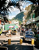 People on Market street at the capital Victoria, district Greater Victoria, Mahe, Republic of Seychelles, Indian Ocean