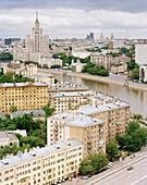 View from the Hotel over apartment buildings and Moskva river onto the city centre, Moscow, Russia, Europe