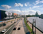 View on billboards and street along river Moskva, Moscow, Russia, Europe