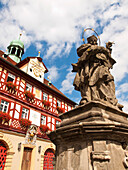 Town Hall with Nepomuk, Bad Staffelstein, Upper Main Valley, Franconia, Bavaria, Germany