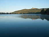 Banz Abbey with Lake Schönbrunner, Upper Main Valley, Franconia, Bavaria, Germany