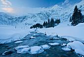 Stream in the mountains in winter, Nussfelder Ache, Sportgastein, Gasteiner valley, Salzburg, Austria, Europe