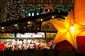 Stall at christmas market in the evening, Rathausplatz square, Vienna, Austria, Europe
