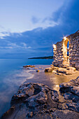 Detail of a restaurant on the waterfront in the evening, Njivice, Kvarner Gulf, Krk Island, Istria, Croatia, Europe