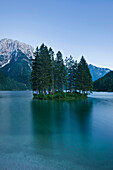 Island with trees on lake Predil, Lago del Predil, Julian Alps, Italy, Europe
