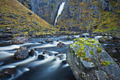 Gorge of the bjoreia river, flowing into Voringfossen, Waterfall in the background, Mabodalen, Hordaland, Norway