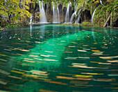 Waterfall at Plivice Lakes National Park, Croatia, Europe
