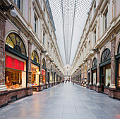 Shops at shopping arcade Galerie du Roi, Brussels, Belgium, Europe