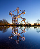 The Atomium at a pond at sunset, Brussels, Belgium, Europe