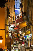 Rue Clemenceau shopping alley in the old town, Calvi, Corsica, France
