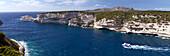 Excursion boat sailing out of Bonifacio harbor, Bonifacio, Corsica, France