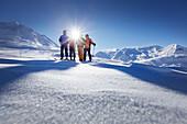 Skiers at the top of Festkoegel, Obergurgl, Tyrol, Austria
