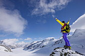 Mountaineer at the summit of Jungfraujoch, Grindelwald, Bernese Oberland, Switzerland