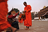 Monks collecting alms before sunrise,  Luang Prabang, Laos