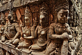 Relief, the terrace of the leper king at Bayon temple, Angkor Thom, Angkor, Cambodia, Asia