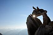 Cairn with sunstar, Zillertal mountain range, Zillertal Alps, Zillertal, Tyrol, Austria