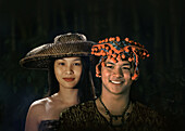 Young couple with a traditional headgear, Mindanao, Zamboanga, Davao, Mindanao Island,  Philippines, Asia