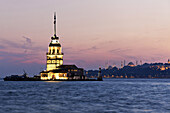 Kis Kulesi tower at sunset, Istanbul, Turkey, Europe