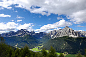 Mountainous landscape under clouded sky, Dolomites, South Tyrol, Italy, Europe