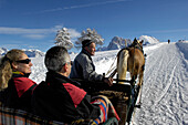 Sleigh, Rastenbachklamm stream, Langkofel, Langkofel Range, Seiser Alm, Valle Isarco, South Tyrol, Trentino-Alto Adige, Italy