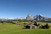One wooden hut in the valley, Langkofel Range, Dolomites, South Tyrol, Trentino-Alto Adige, Italy