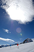 Sunbeam over the ski slope, South Tyrol, Trentino-Alto Adige, Italy