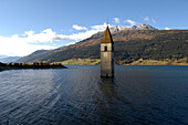 Lago di Resia, Graun, Vinschgau, South Tyrol, Trentino-Alto Adige, Italy