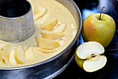 Appels near baking tin with dough, Apple pie, South Tyrol, Trentino-Alto Adige, Italy