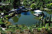 High angle view of botanical garden, Trauttmannsdorff castle, Merano, Alto Adige, South Tyrol, Italy, Europe