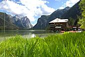Restaurant at lake Lago di Dobbiaco, Val Pusteria, Alto Adige, South Tyrol, Italy, Europe