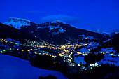 View of mountain village Groeden at night, Groeden, Val Gardena, Alto Adige, South Tyrol, Italy, Europe