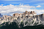 Mountain scenery under clouded sky, Dolomiti ampezzane, Alto Adige, South Tyrol, Italy, Europe