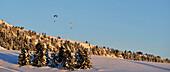 Paragliding, Winter landscape, Rittner Horn, Alto Adige, South Tyrol, Italy