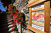 Farmhouse inn with a sign, farm holidays, Valley Tauferer Ahrntal, Alto Adige, South Tyrol, Italy
