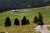 Hikers in the Villnoess, Valle Isarco, Alto Adige, South Tyrol, Italy