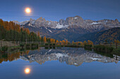 Wuhn Weiher with full moon, Tiersertal,  Eisack Valley, Alto Adige, South Tyrol, Italy
