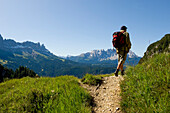 Hiker in Ultental, Alto Adige, South Tyrol, Italy