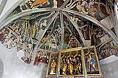 Fresco inside of St. Nikolaus church at Klerant, Brixen, South Tyrol, Alto Adige, Italy, Europe