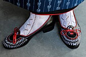 View of traditional shoes of a woman in a shop, Merano, South Tyrol, Alto Adige, Italy, Europe