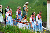 People in traditional costumes at a procession, Val Sarentino, South Tyrol, Alto Adige, Italy, Europe