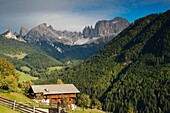 Farm stead in idyllic mountain scenery, Tierser valley, Dolomites, South Tyrol, Alto Adige, Italy, Europe