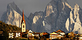 Mountain village Teis in front of Geisler group, Valley of Villnoess, South Tyrol, Alto Adige, Italy, Europe
