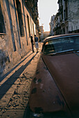 Vintage car driving, blurred motion, Yank Tank, Cuba