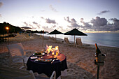 Romantic candlelit meal on the beach, Shoal Bay, Anguilla