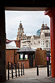 Docks and Liver building, Liverpool, England, UK