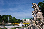 Statues at Mirabell Palace and Gardens, Salzburg, Austria.  Mirabell Palace and Gardens was featured in the film Sound of Music