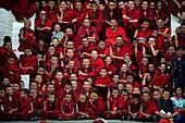 Buddhist monks laughing, Thimphu, Bhutan